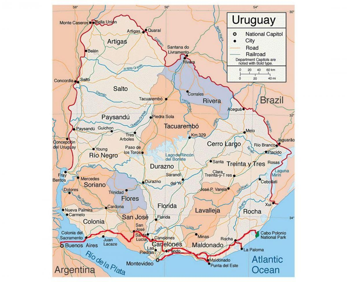 Map of Uruguay with citie