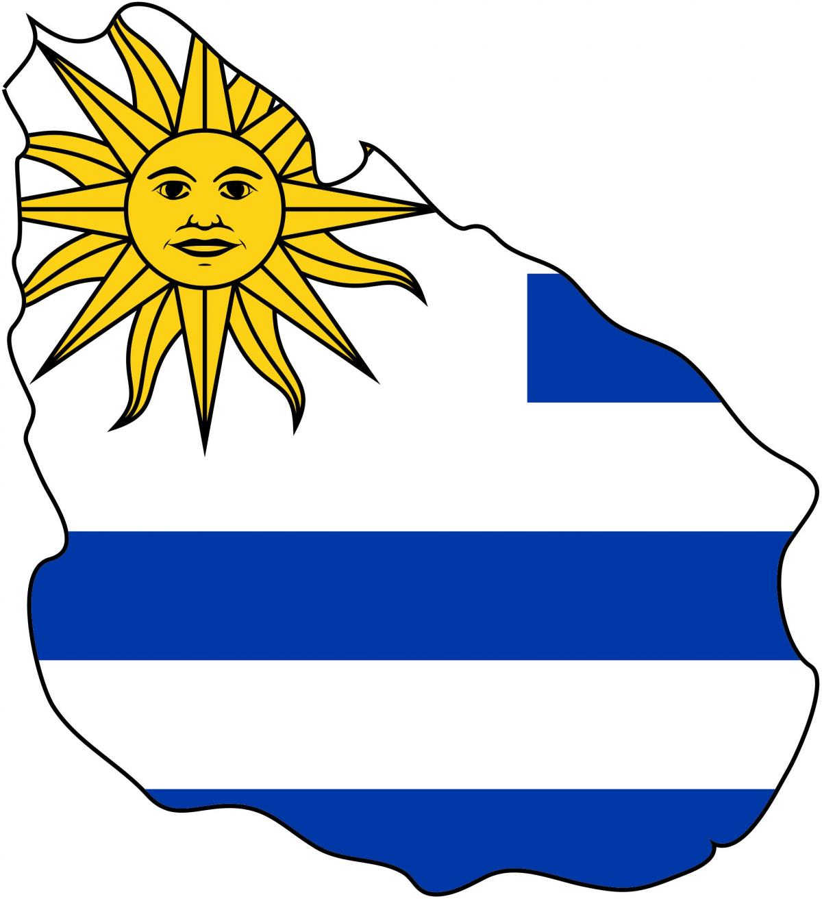 Map of Uruguay flag