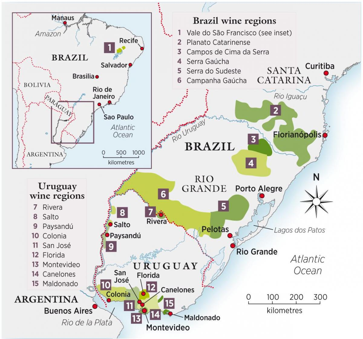 Map of Uruguay wine